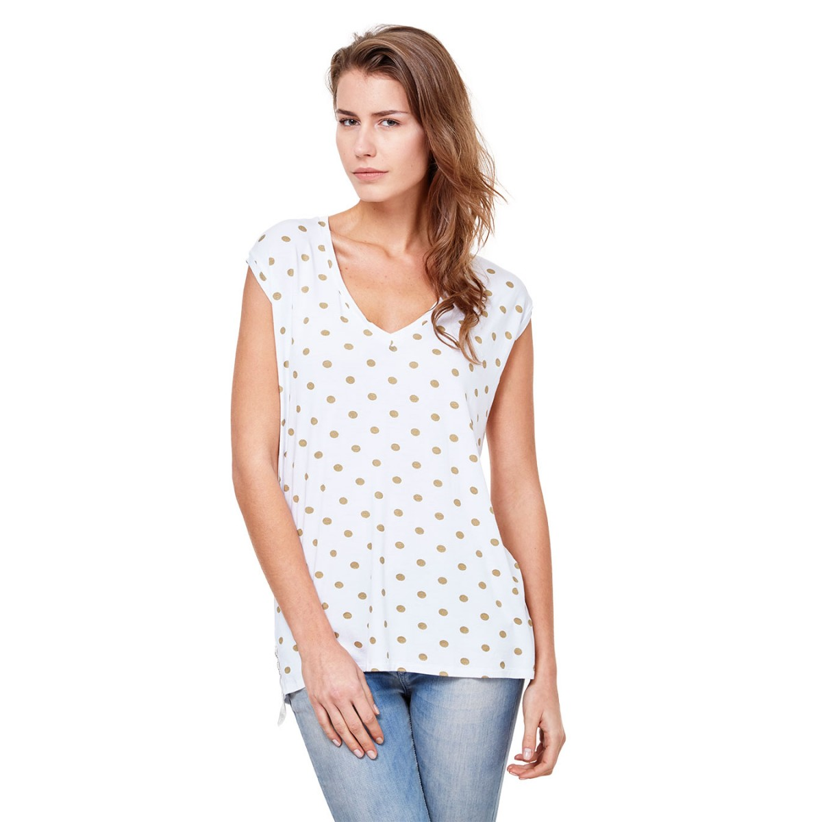 t-shirt-scollo-v-pois