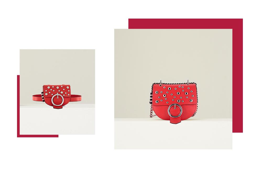 Tracollina in ecopelle rossa con borchie sulla patta