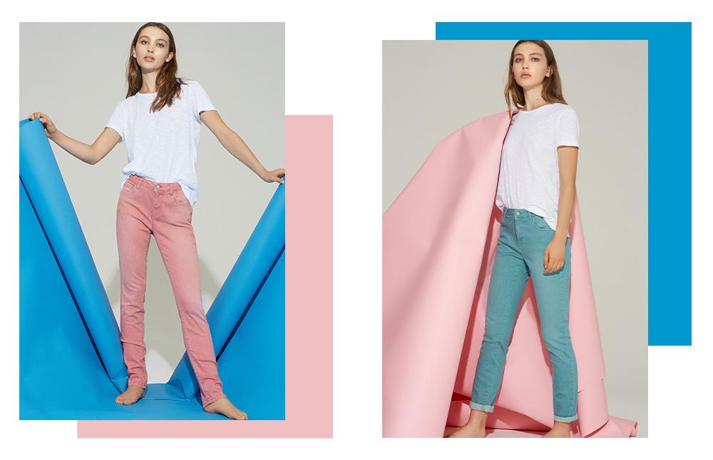 Jeans rosa e jeans acquamarina Manila Grace PE 2019