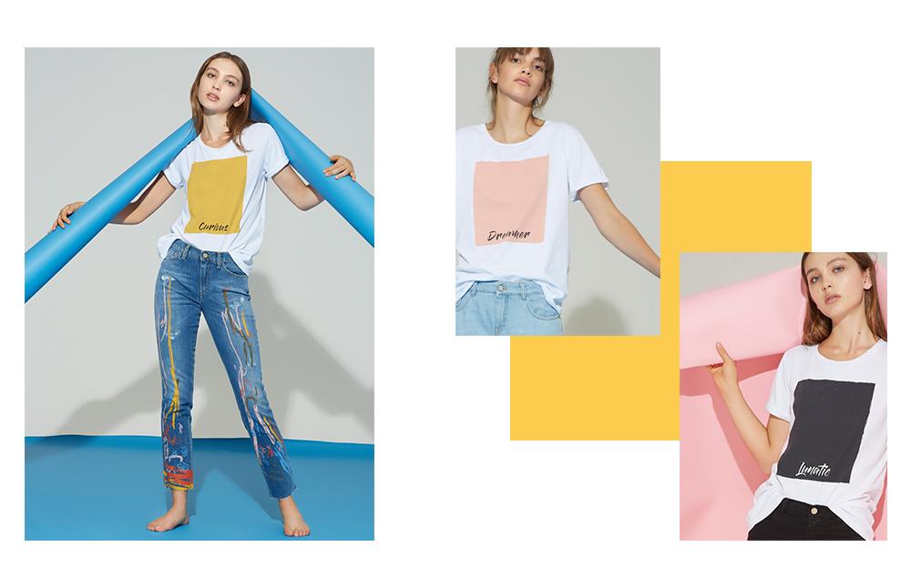 T-shirt Manila Grace PE 2019: giallo, rosa, nero