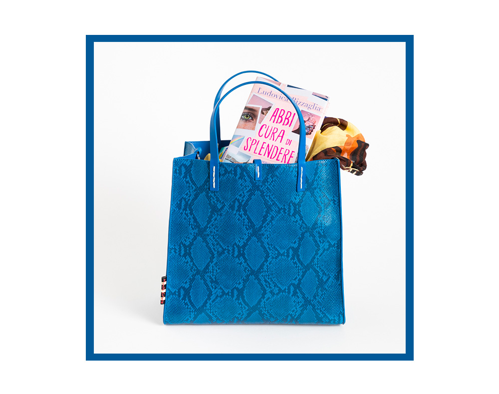 Felicia Bag Manila Grace stampa pitone colore azzurro