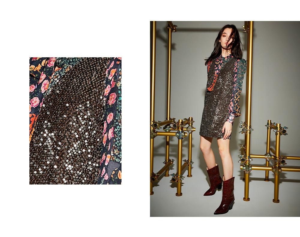 Mini abito fiori e paillettes collezione Autunno 2019 Manila Grace